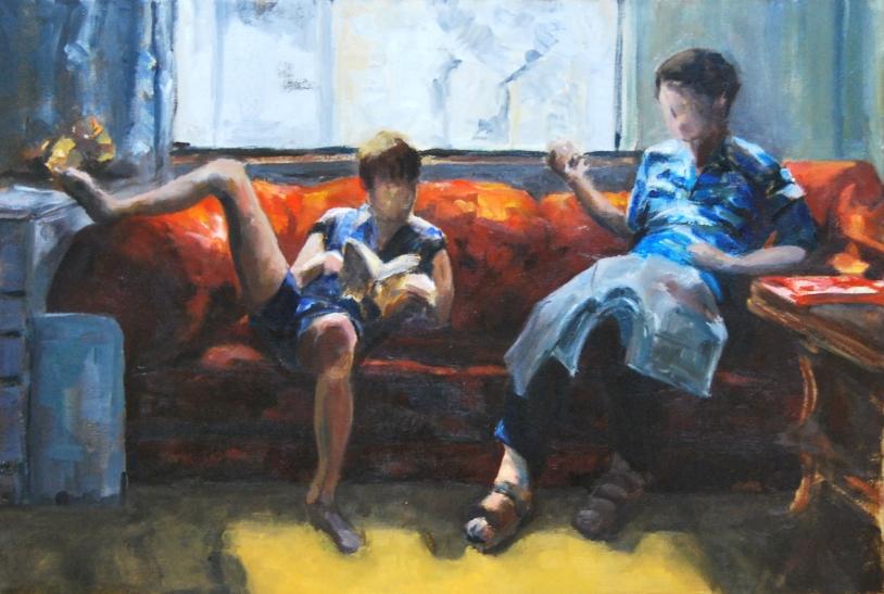 J & A. op canvas; 40 x 60 cm.