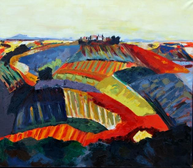 Toscane, olieverf, 80 x 90 cm.
