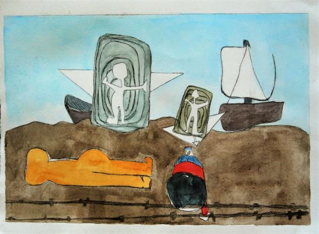 Turkse kust najaar 2015, ets en aquarel, 20 x 30 cm.