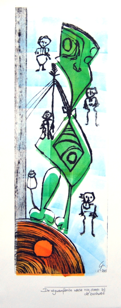 Wigwamfamilie II; ets plus sjabloondruk; 12 x 34 cm.
