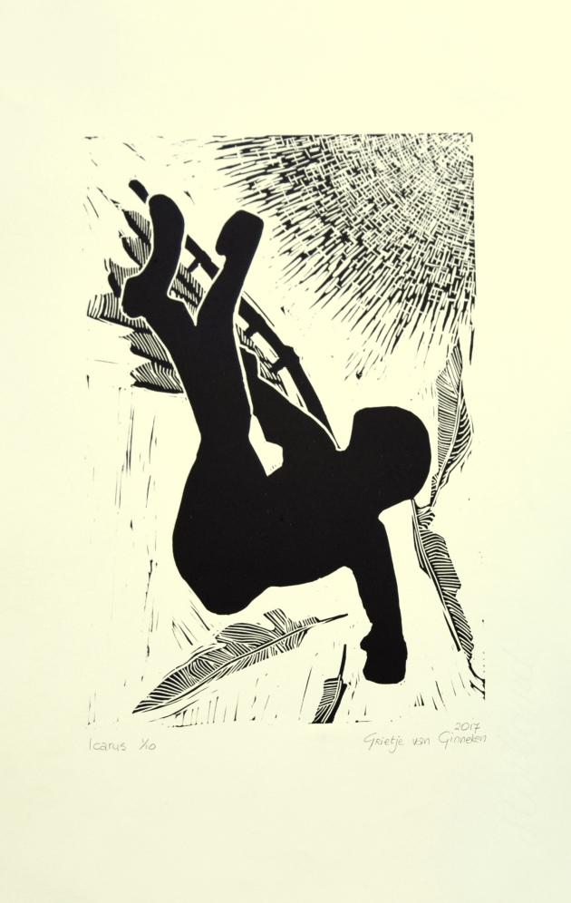 Icarus, lino, 20 x 30 cm.